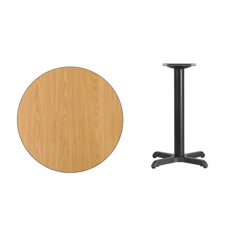 Round Natural Laminate Table Top with 22'' x 22'' Table Height Base