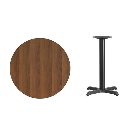 Round Walnut Laminate Table Top with 22'' x 22'' Table Height Base