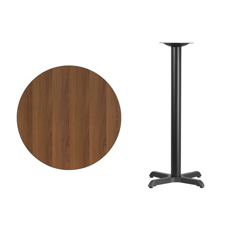 Round Walnut Laminate Table Top with 22'' x 22'' Bar Height Table Base