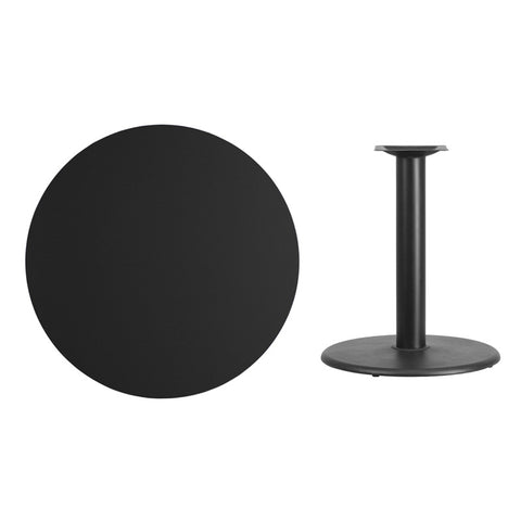 Round Black Laminate Table Top with Round Table Height Base