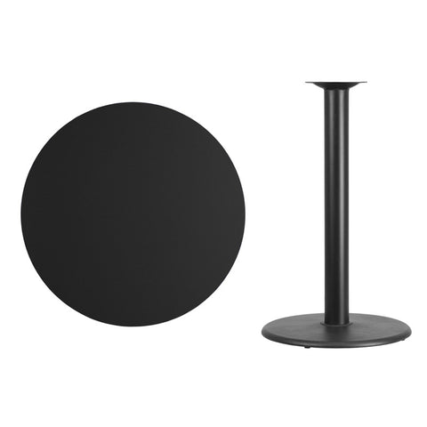 Round Black Laminate Table Top with Round Bar Height Table Base