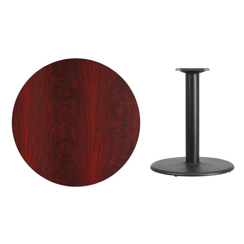 Round Mahogany Laminate Table Top with Round Table Height Base