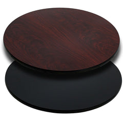 Round Table Top with Black or Mahogany Reversible Laminate Top - YourBarStoolStore + Chairs, Tables and Outdoor
