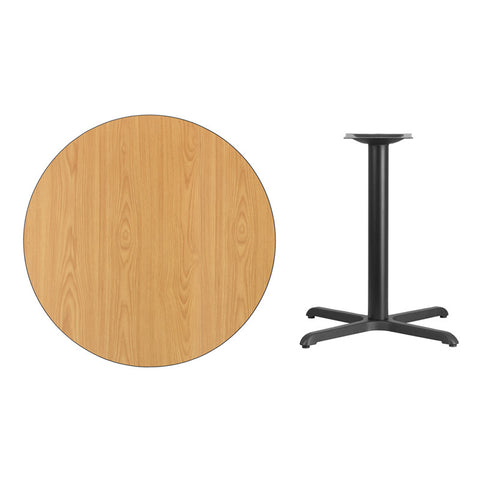 Round Natural Laminate Table Top with x Table Height Base