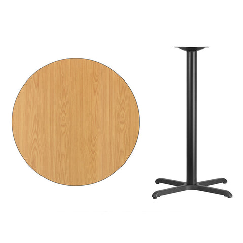 Round Natural Laminate Table Top with x Bar Height Table Base