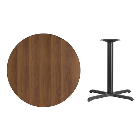 Round Walnut Laminate Table Top with x Table Height Base