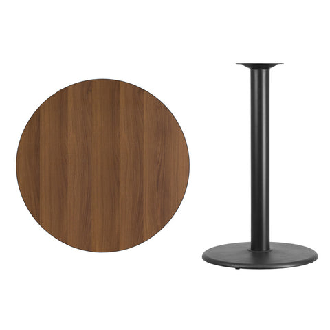 Round Walnut Laminate Table Top with Round Bar Height Table Base