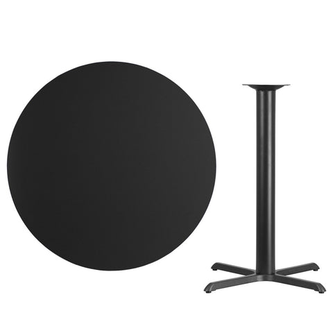 Black Laminate Table Top with 33'' x 33'' Bar Height Table Base