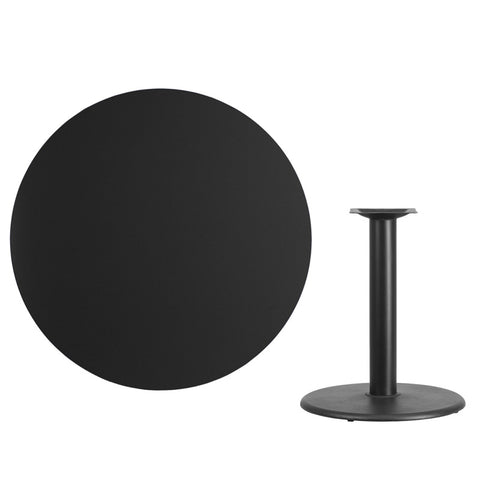 Black Laminate Table Top with Round Table Height Base