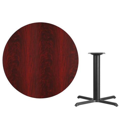 Mahogany Laminate Table Top with 33'' x 33'' Table Height Base