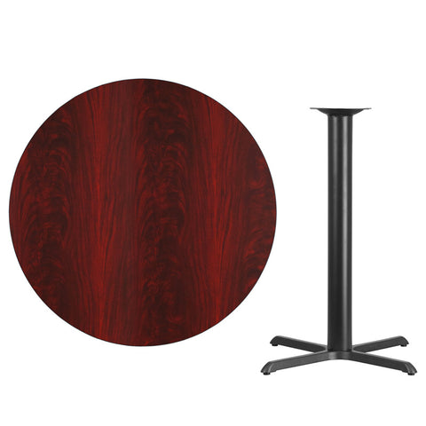 Mahogany Laminate Table Top with 33'' x 33'' Bar Height Table Base