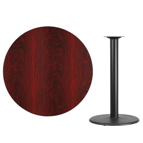Mahogany Laminate Table Top with Round Bar Height Table Base