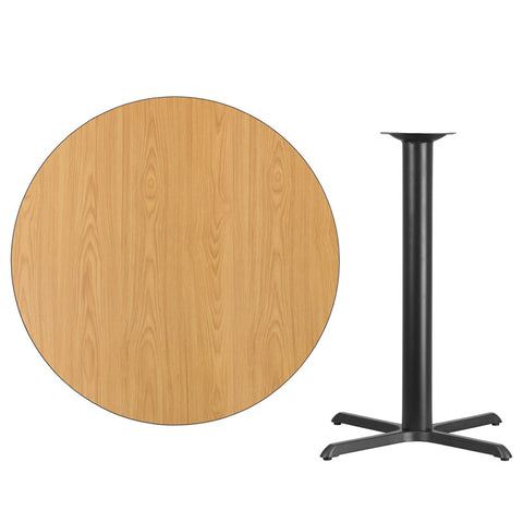 Natural Laminate Table Top with 33'' x 33'' Bar Height Table Base