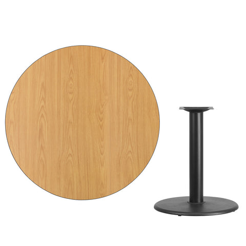 Natural Laminate Table Top with Round Table Height Base