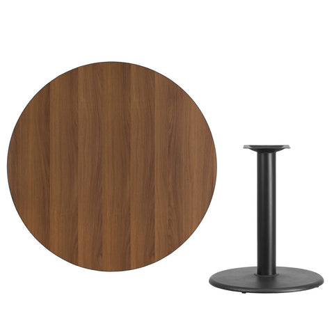 Walnut Laminate Table Top with Round Table Height Base