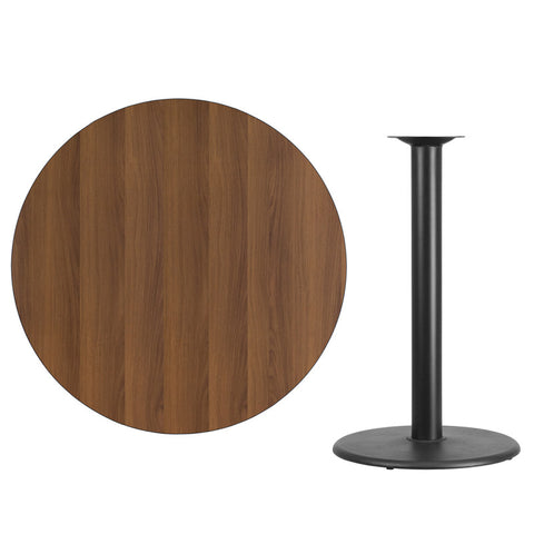 Walnut Laminate Table Top with Round Bar Height Table Base