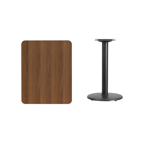 Rectangular Walnut Laminate Table Top with 18'' Round Table Height Base