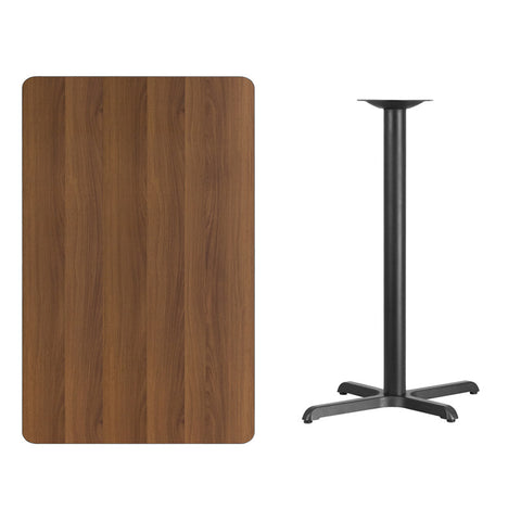 Rectangular Walnut Laminate Table Top with 22'' x Bar Height Table Base