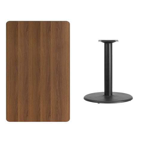 Rectangular Walnut Laminate Table Top with Round Table Height Base