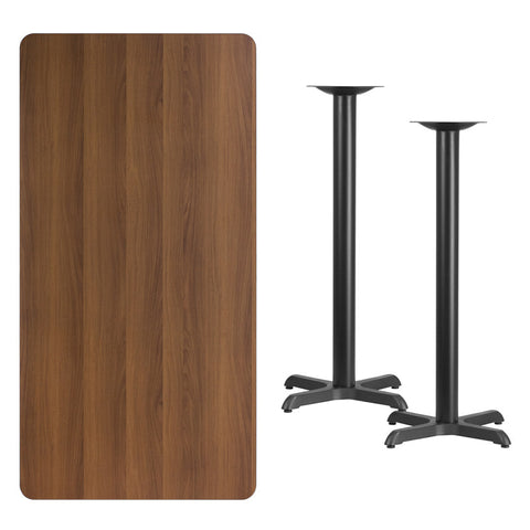 Rectangular Walnut Laminate Table Top with 22'' x 22'' Bar Height Table Bases