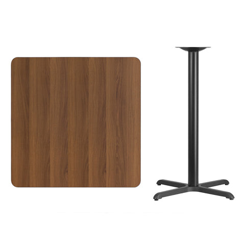 Square Walnut Laminate Table Top with x Bar Height Table Base