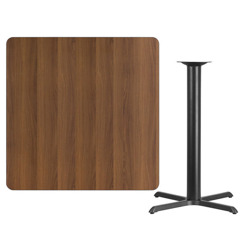 Square Walnut Laminate Table Top with 33'' x 33'' Bar Height Table Base