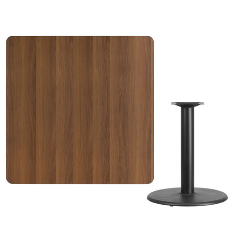 Square Walnut Laminate Table Top with Round Table Height Base