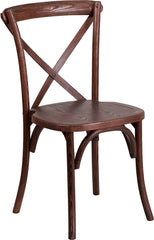 Cross Back Chair Stackable Mahogany Wood