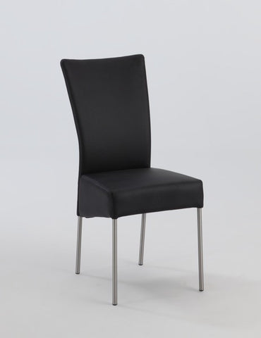 Chintaly Upholstered Modern Side Chair Black Pu ZEMORA-SC-BLK