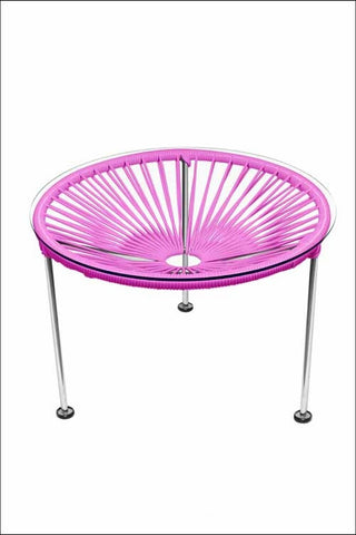 Innit Zica Table Chrome Frame With Pink Weave