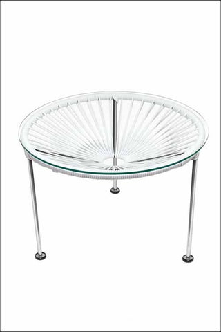 Innit Zica Table Chrome Frame With White Weave