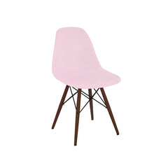 Trige Baby Pink Mid Century Side Chair Walnut Base - Pink & Walnut