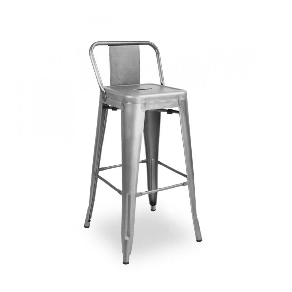 Home Dreux Gunmetal Low Back Steel Counter Stool 26 Inch Bar Stools
