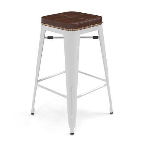 Tolix Style Counter Height Stools - White with Honey Seat