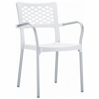 Compamia Bella Resin Dining Arm Chair White ISP040-WHI