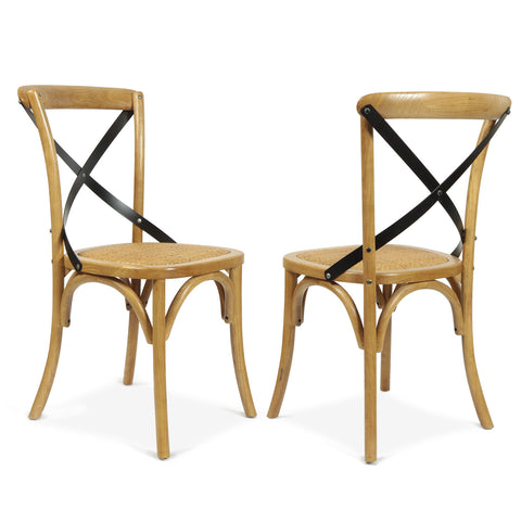 Tan Elm Wood Vintage-Style Dining Chairs (Set of two) (Padded seat)