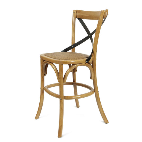 Tan Elm Wood Vintage-Style Dining Chairs (1 only) 28.7""