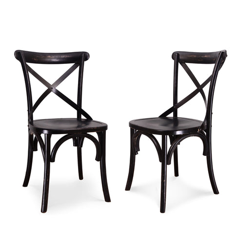 Black Elm Wood Vintage-Style Dining Chairs (Set of two)