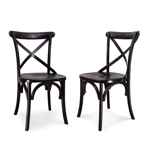Dark Brown Elmwood Vintage-Style Cross Back Dining Chairs (Set of two)