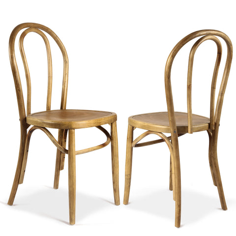 Light Brown Elm Wood Vintage-Style Dining Chairs (Set of two)
