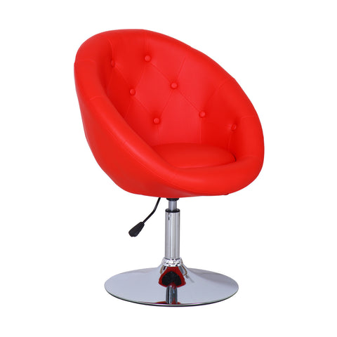 Red Egg shape Cushioned Leatherette Adjustable Swivel Home Office Chair