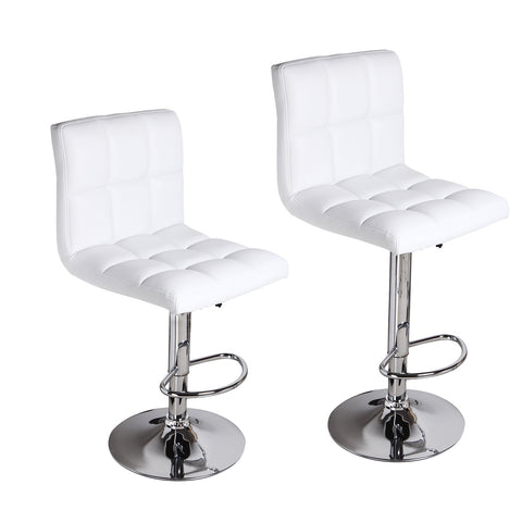 White Leatherette Faux Tufted Adjustable Bar Stools - Beige - Set of two