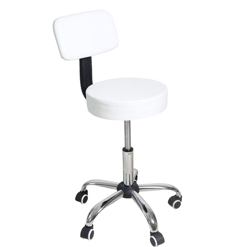 White Round Hydraulic Lift Adjustable Barstool Chair with Half Back