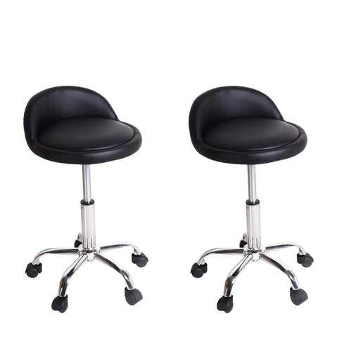 Black Leatherett Rolling Chairs / Counter Stools (Set of two)