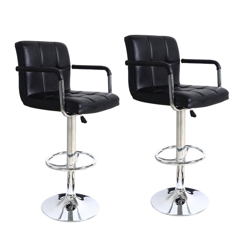 Faux Tufted Leatherette Bar Stools - Black - Set of two