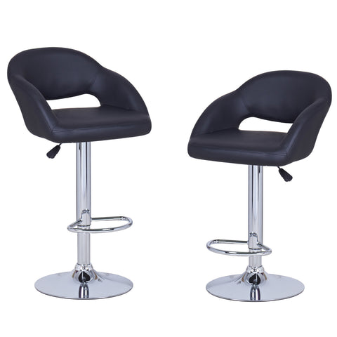 Black Leatherette Bar Stools with Low Cut Out Back (Set of two)