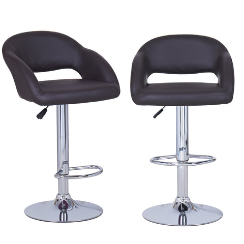 Brown Leatherette Bar Stools with Low Cut Out Back (Set of two)
