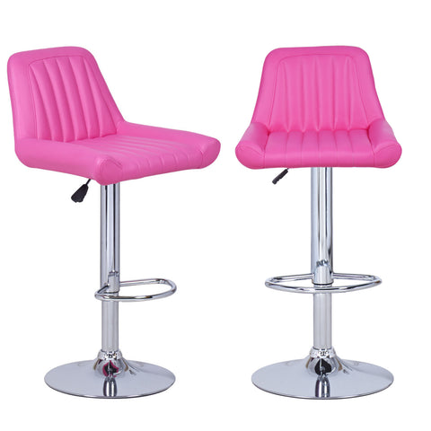 Hot Pink Vertical Tufting Leatherette Bar Stools (Set of two)