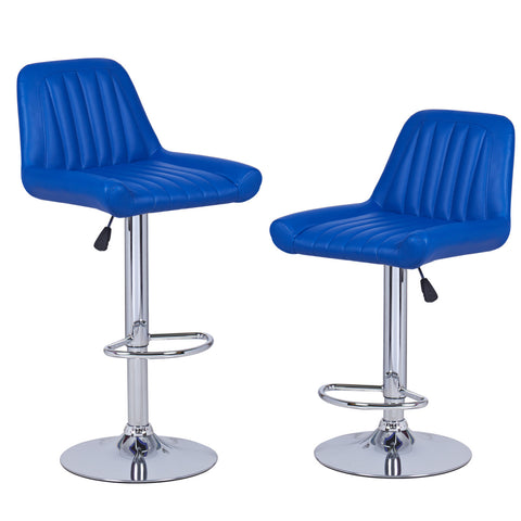 Bright Blue Vertical Tufting Leatherette Bar Stools (Set of two)