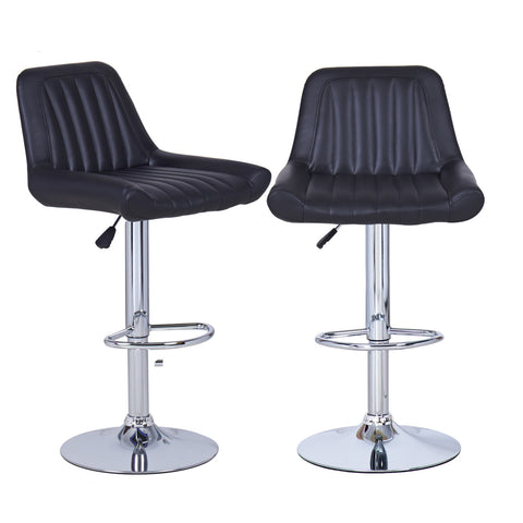 Black Vertical Tufting Leatherette Bar Stools (Set of two)